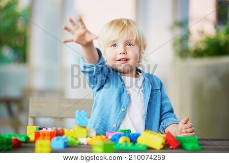 Little Boy Playing With Colorful Plastic Construction Blocks