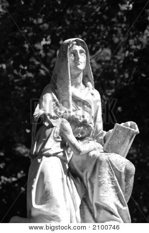 Black And White Gravemarker Of A Woman And Child