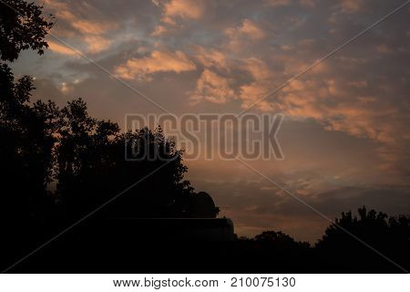 Sunset at the parking space for mobile homes