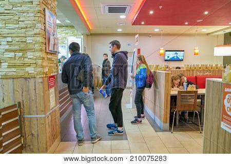SAINT PETERSBURG, RUSSIA - CIRCA OCTOBER, 2017:  inside Burger King restaurant. Burger King is an American global chain of hamburger fast food restaurants.