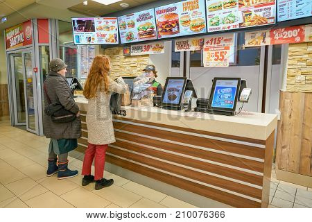 SAINT PETERSBURG - CIRCA OCTOBER, 2017: inside Burger King restaurant. Burger King is an American global chain of hamburger fast food restaurants.