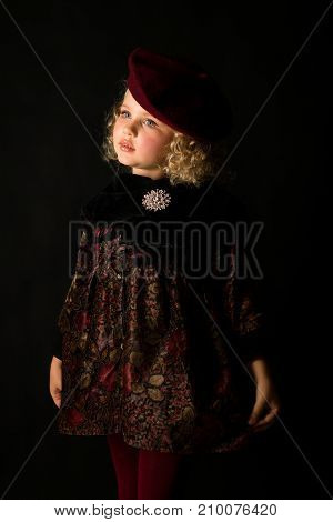 Pretty Girl In Brown Old-fashioned Costume