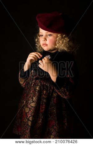 Attractive Girl In Brown Old-fashioned Costume