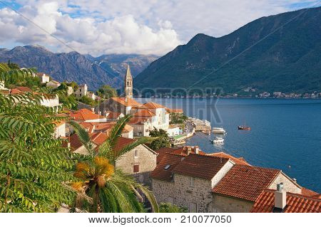 Perast - old town on the Bay of Kotor in Montenegro - on a sunny autumn day