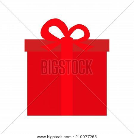 festive gift in a red box illustration