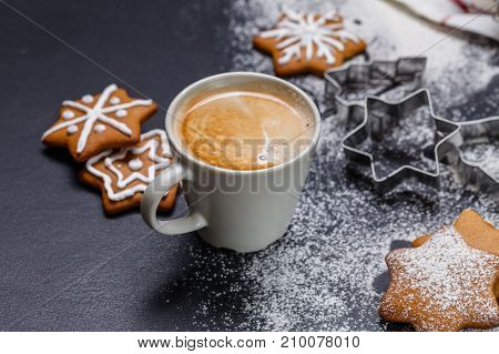 Christmas ginger cookies black background horizontal new Year