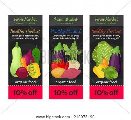 Vegetable voucher set, farm market product - tomato, zucchini, kohlrabi, onion, eggplant, potato, carrot, pepper, artichoke, beet, radish in cartoon flat style. Vector illustration