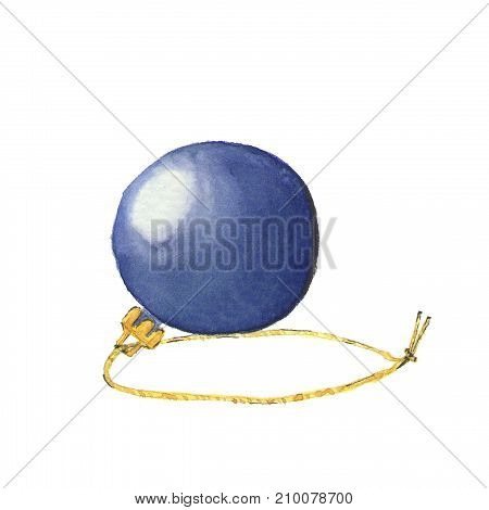 Watercolor Illustration Of Christmas Ball Isolated On White. Element For Your Design