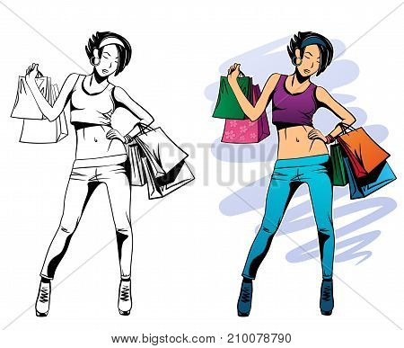 Vector illustration of girl with purchases on white background