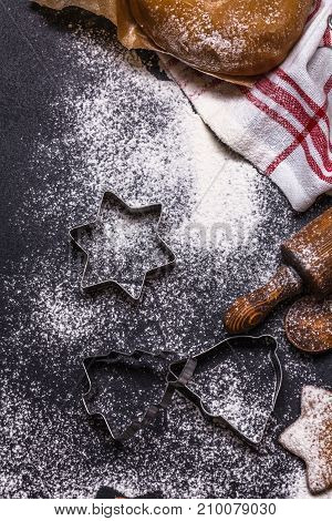 Christmas Ginger Cookies On A Black Background, Vertically