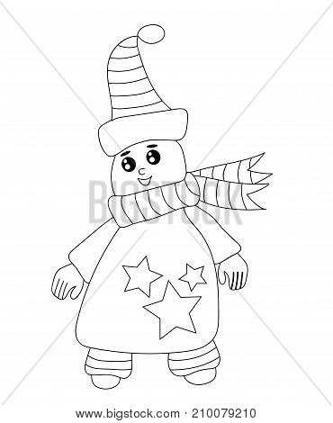 Cute black line ice man for coloring book. Winter cartoon.