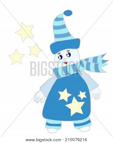 Cute ice man with star for greeting card and other design. Winter cartoon.