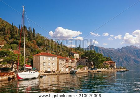 Sunny autumn day in the seaside town of Perast. Bay of Kotor, Montenegro