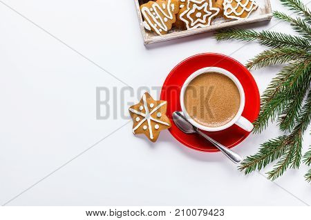 Christmas Cookies In A White Wooden Box With Hot Chocolate And Marshmelow, On A Light Background.