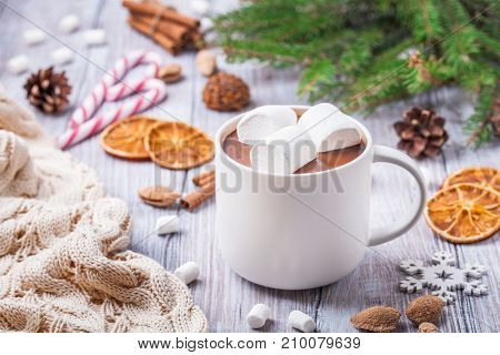 Hot Chocolate With Marshmallows In A White Cup, On A Light Background.
