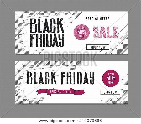 Black Friday sale advertising. Banner template with hand drawn lettering  and design elements