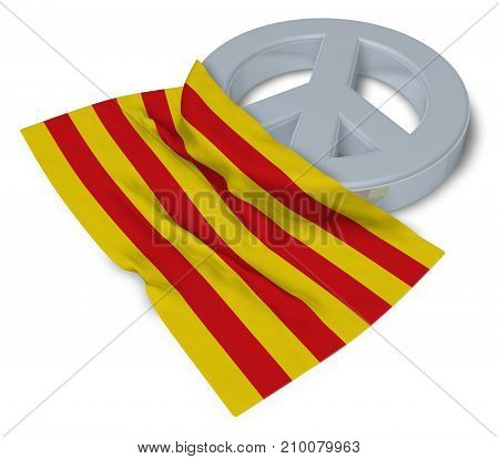 peace symbol and flag of catalonia - 3d rendering