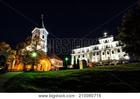 Church of Mother God and Missionary museum Calvary in Nitra city Slovak republic. Night scene. Religious architecture.