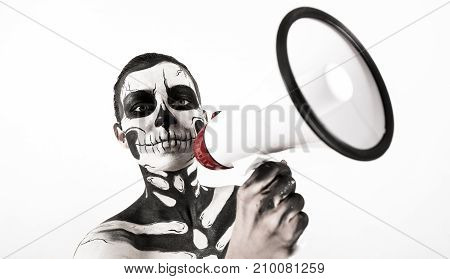 Attractive Girl With Skeleton Makeup Hold Megaphone