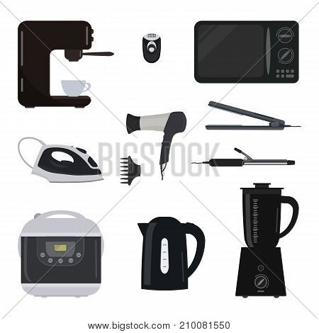 Household electrical appliances on a white background. There is a kettle, a microwave, a blender, a coffee machine, a iron, a hair dryer, epilator and other objects in the picture. Vector illustration