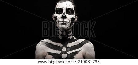 Pretty Woman With Skeleton Tattoo