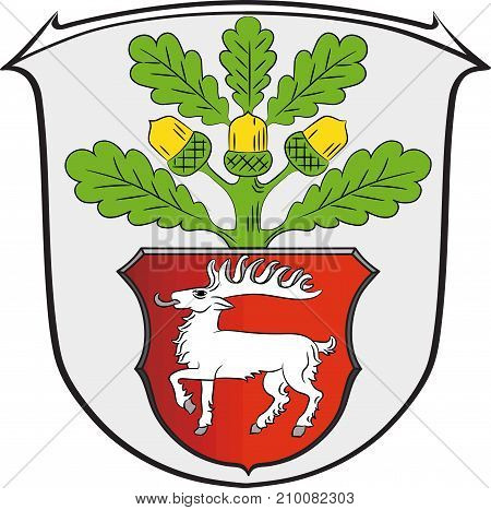 Coat of arms of Dreieich is a town in the Offenbach district of Darmstadt in Hessen Germany. Vector illustration