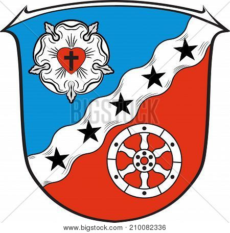 Coat of arms of Rodgau is a town in the Offenbach district of Darmstadt in Hesse Germany. Vector illustration