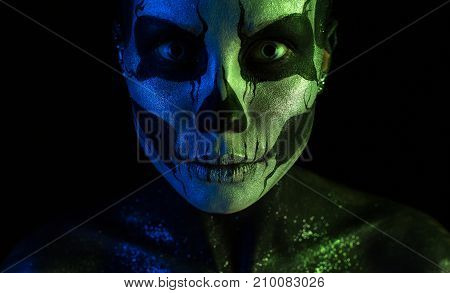 Attractive Spooky Girl With Skeleton Makeup