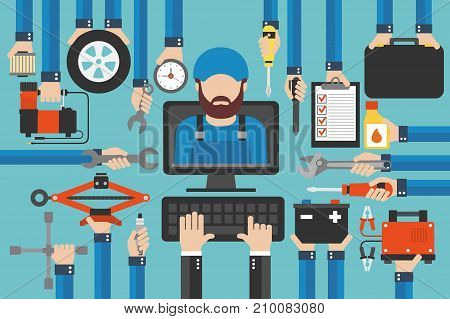 Car service computer online call flat design set with mechanic .Vector illustration