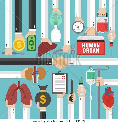 Human Transplantation infographicbuying agencies flat concept design.Vector illustration