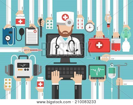 Medical computer online call flat design set with doctor.Vector illustration