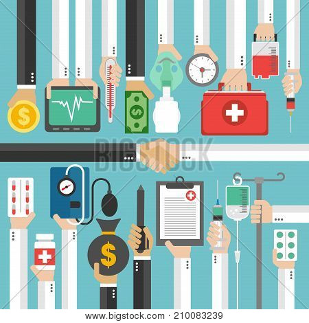 Medical Insurance flat concept modern design.Vector illustration