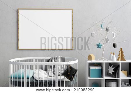 Modern Christmas interior of the childroom. sleeping place. 3d illustration. Mock up poster