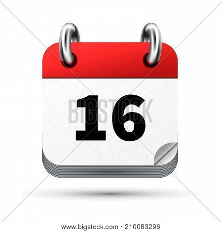 Bright realistic icon of calendar with 16th date on white