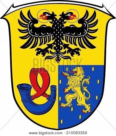Coat of arms of Lahn-Dill is a district in the west of Hesse Germany. Vector illustration
