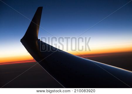 wing aircraft at sunset . In the park in nature