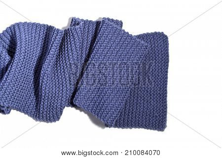 knitted blue scarf isolated on white background