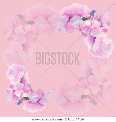 Watercolor illustration of hydrangea in decoration of greeting card on pink background.
