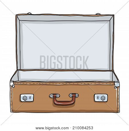 Brown Suitcase vintage empty suitcase hand drawn vector art illustration