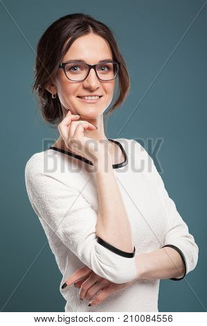 Image Of Good Looking Woman In Light Clothes Standing