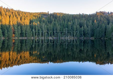 Autumn landscape - Black Forest. A small lake in the high mountains of the Black Forest in autumn.