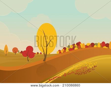 autumn rural landscape background with yellow trees in fields and hills. Vector illustration.