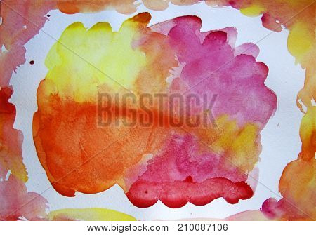 watercolor frame and patches of yellow orange and pink on a white sheet of paper