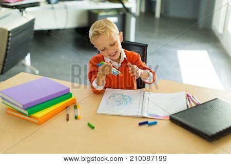 Boy Draw In The Office