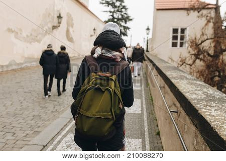 Travel Persone With Backpack Walking In Europe