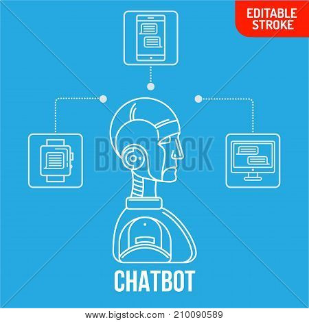 Linear chatbot chatting software application concept, virtual Assistance Of Website Or Mobile Applications.