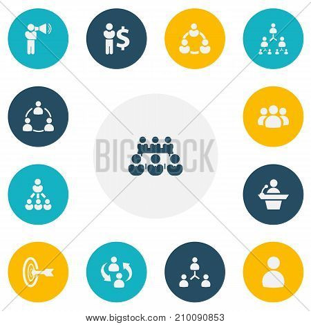 Set Of 13 Editable Community Icons. Includes Symbols Such As Hierarchy, Talking Man, Finance Director And More