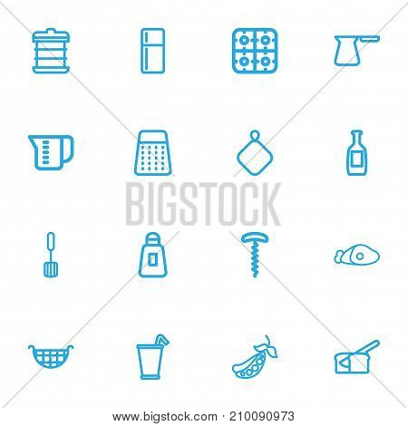 Set Of 16 Editable Food Outline Icons. Includes Symbols Such As Wine Opener, Refrigerator, Rooty And More