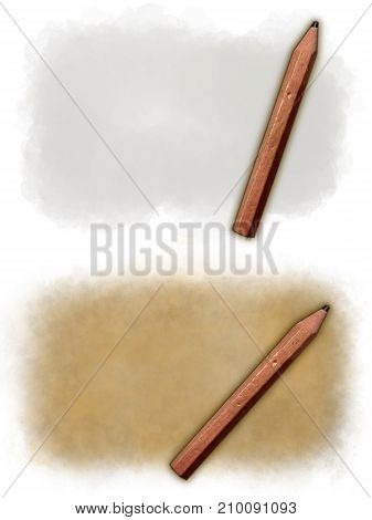 two various backgrounds with pencil and copy space