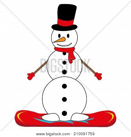 snowman on snowboard white background vector illustration